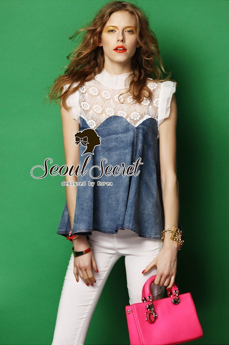 Softly Denim Lace Blouse