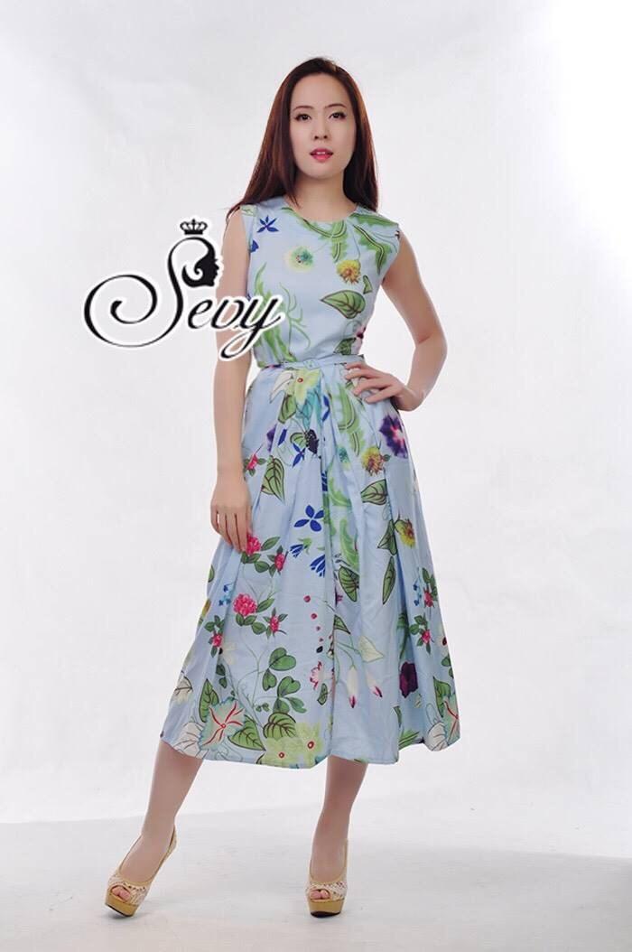 Sevy Max Mara Pastel Flora Sleeveless Maxi Dress