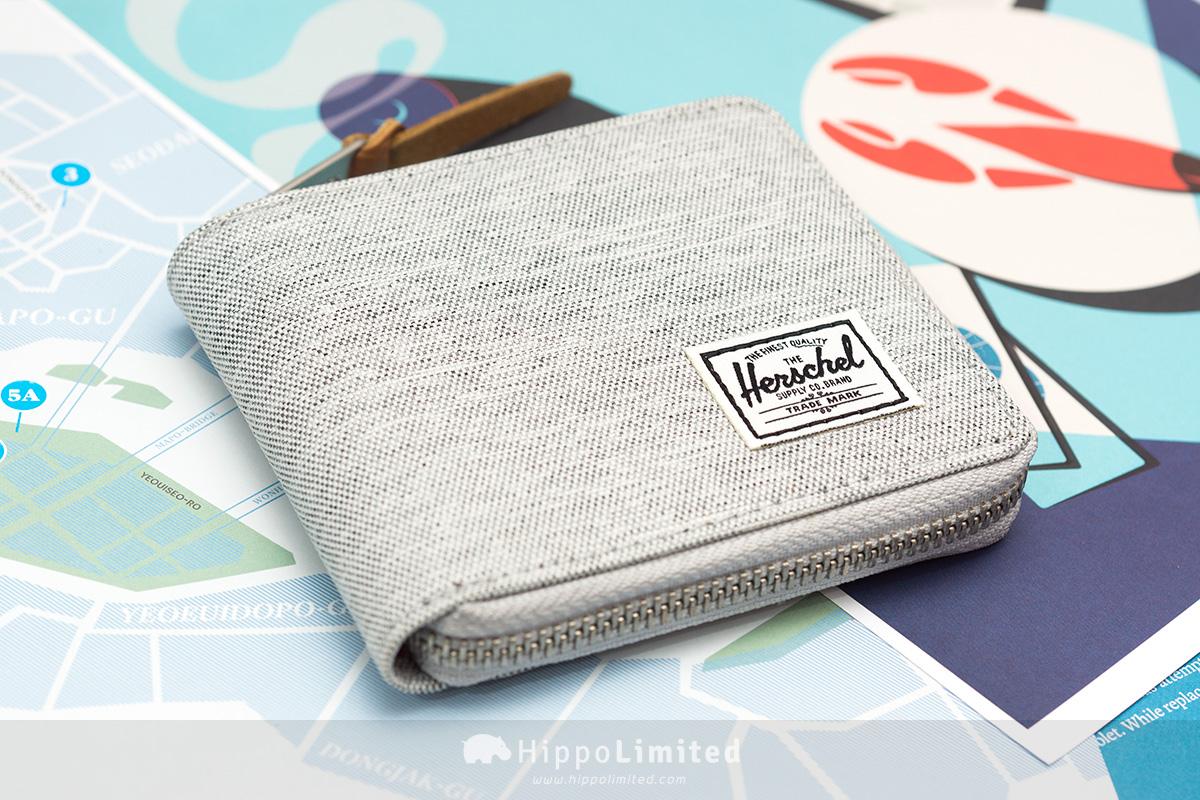 กระเป๋าสตางค์แบบซิปรอบ Herschel Walt Wallet - Light Grey Crosshatch สีเทาอ่อน