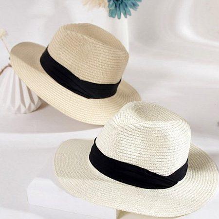 หมวกทรงปานามาสีขาวและสีครีม ONE SIZE