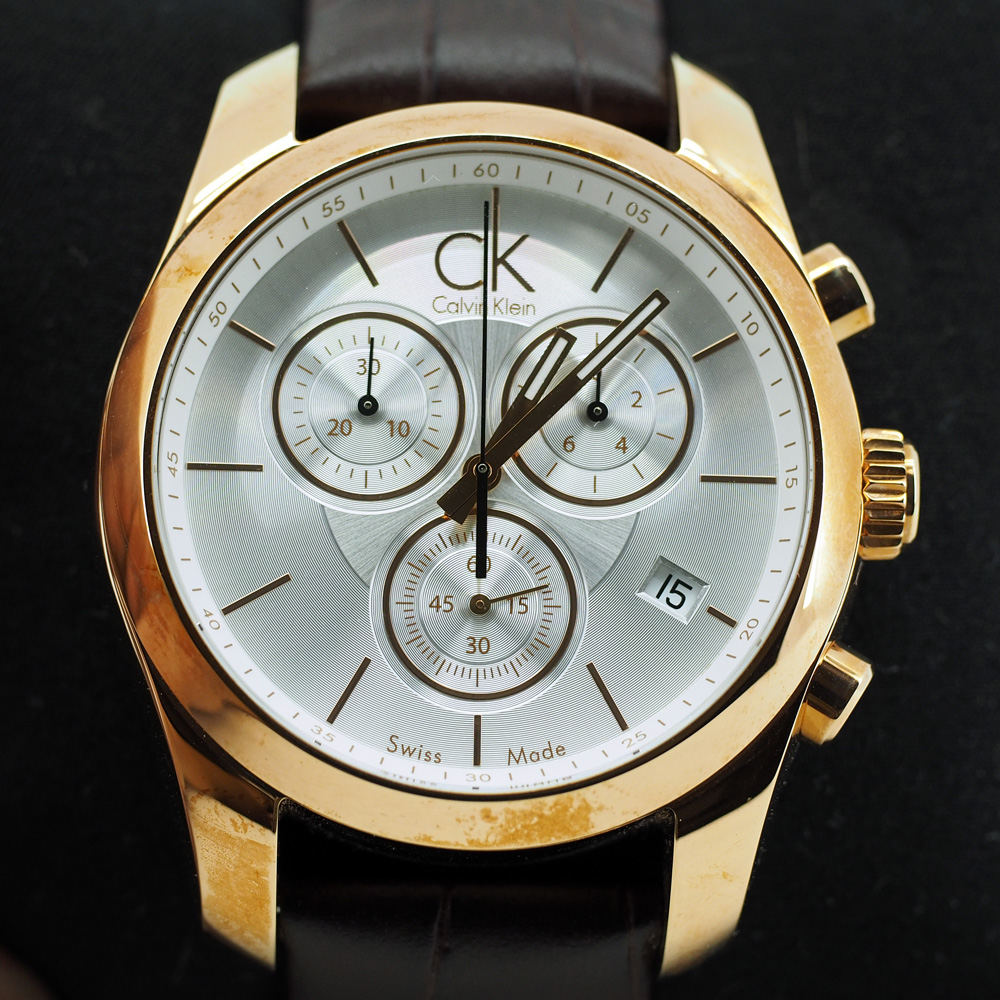Calvin Klein Men's Strive Chronograph Watch Rose Gold Color (KOK27620)