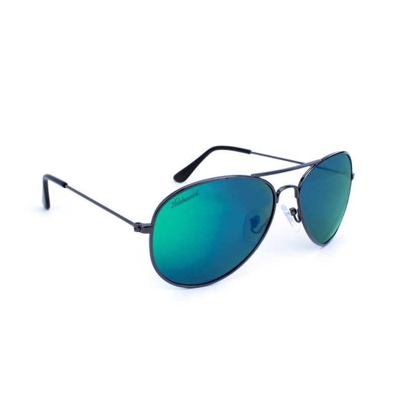 แว่น Knockaround Mile Highs Sunglasses - Gunmetal / Polarized Green Moonshine