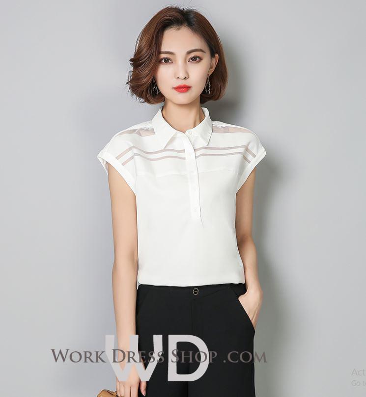 Preorder เสื้อทำงาน สีขาว คอปก แขนล้ำ แต่งซีทรูเป็นลายขวางเก๋ๆ