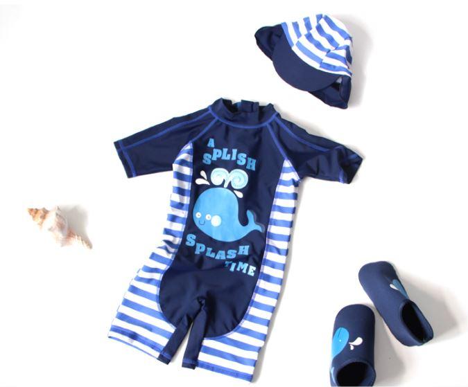 ชุดว่ายน้ำเด็กผู้ชาย bodysuite แขนสั้นขาสั้นซิปหลัง สีน้ำเงินขาว พร้อมหมวก