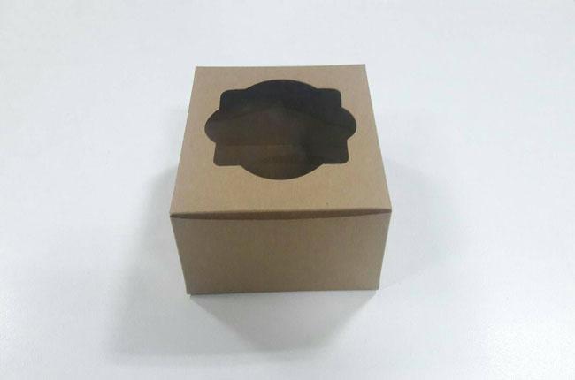 กล่องสแน็ค กล่องอาหารว่าง ลายคราฟท์น้ำตาล ขนาด 12.8 x 12.8 x 7.0 ซม.(20 ใบต่อแพ็ค)