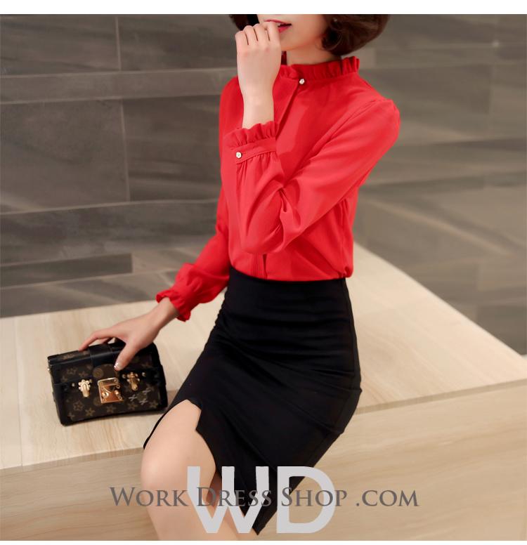 Preorder เสื้อทำงาน สีแดง คอตั้ง แขนแต่งระบายสวย จับจีบด้านหน้าสวยงาม