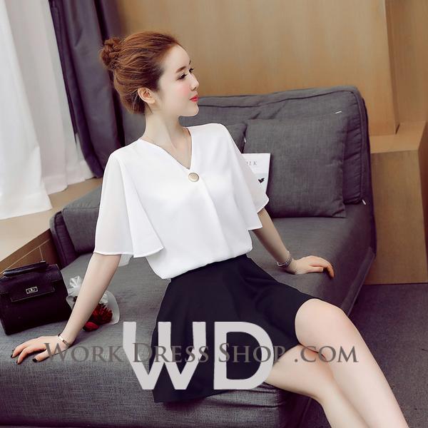Preorder เสื้อทำงาน สีขาว คอวี ดีเทลอกเสื้อแบบทับไขว้เก๋ไก๋สุดๆ แขนทรงปีกค้างคาว เนื้อผ้าระบายอากาศได้ดี
