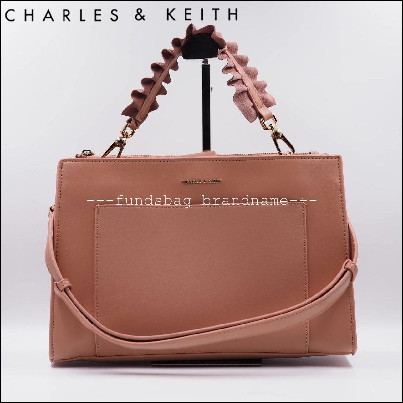 ใหม่ล่าสุด CHARLES&KEITH RUFFLE HANDLE BAG 2018 (CK2-50270097)-สีนู๊ดพิ้ง-