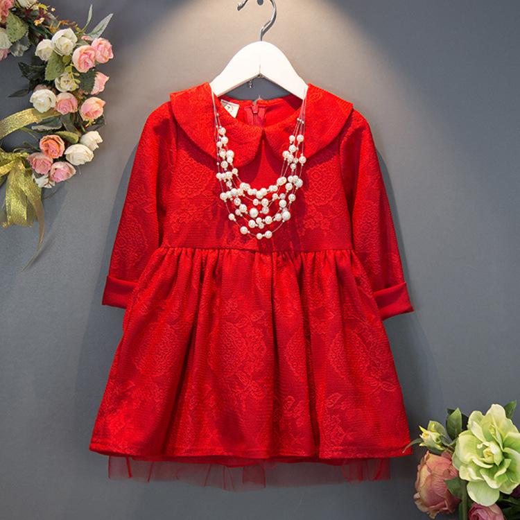 เดรสคุณหนูสีแดง แขนยาวคอบัว ซิปหลัง ชุดสีแดงสดใสให้แล้วสวยเด่น น่ารักมากๆค่ะ