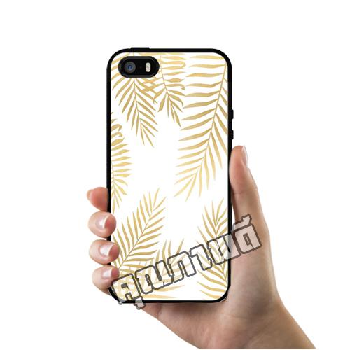 เคส iPhone 5 5s SE ใบไม้สีทอง เคสสวย เคสโทรศัพท์ #1203