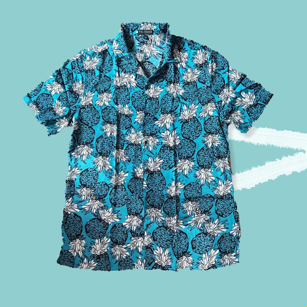 เสื้อเชิ๊ตแขนสั้น ฮาวาย สีฟ้าลายสัปปะรด