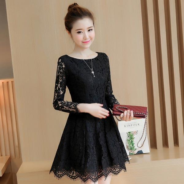 ชุดเดรสลูกไม้สีดำ แขนยาว ชุดผ้าลูกไม้สั้นสวยๆ น่ารักๆ แฟชั่นเกาหลี