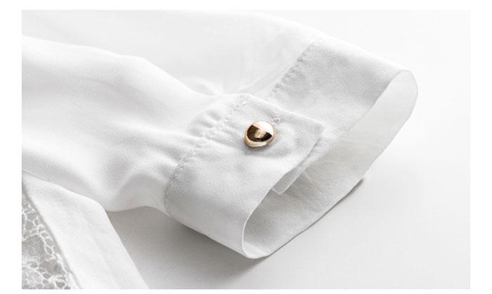 เสื้อลูกไม้สวยๆ แฟชั่นเกาหลี มีสีขาว เรียบหรู เสื้อขาวลายลูกไม้ใส่ออกงาน เสื้อลูกไม้ ส่งฟรี EMS ส่งฟรี EMS แขนยาวชีฟอง ดีเทลคอสวยๆ ใส่สบายๆ ไม่อึดอัด แมทซ์ชุดออกงานได้หลายโอกาส ใส่ออกงานแต่ง ใส่ทำงาน ไม่เชย