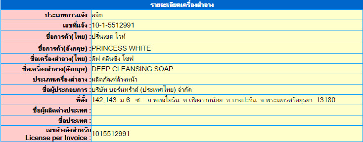 เลขที่จดแจ้ง อย. Deep Cleansing Soap