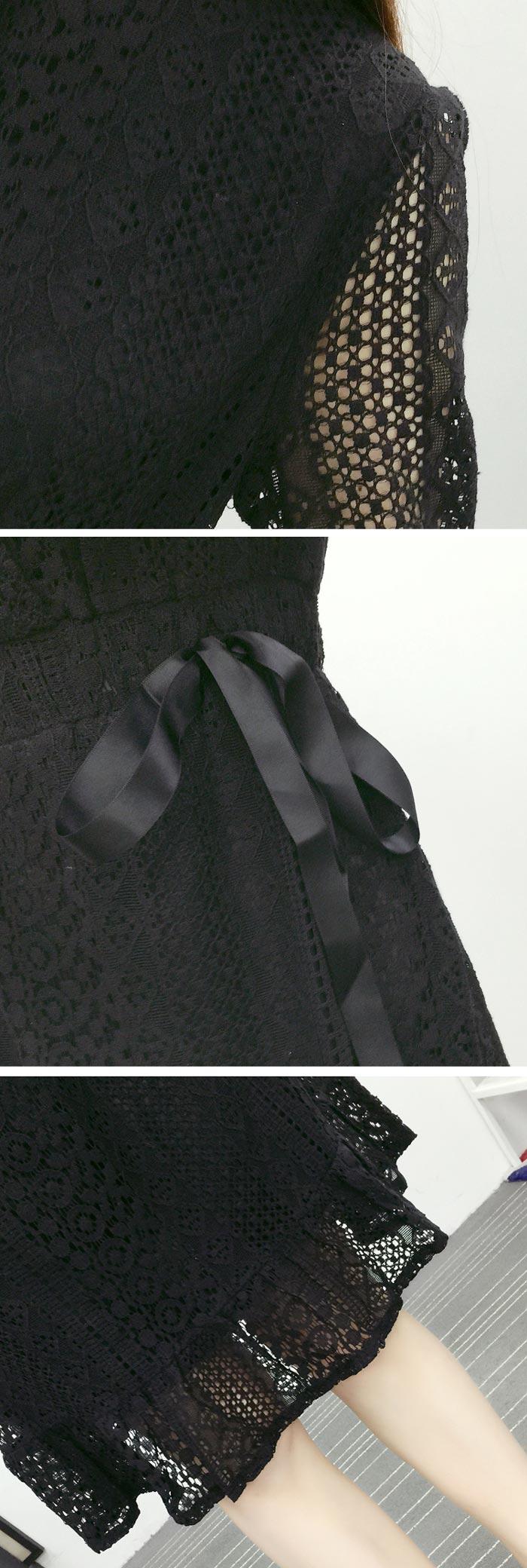 ชุดเดรสลูกไม้สีขาว ชุดผ้าลูกไม้สวยๆ น่ารักๆ แฟชั่นเกาหลี แบบจุดกระดุม แขนยาว