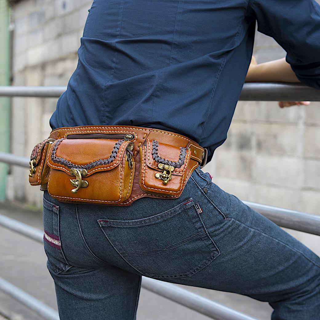 กระเป๋าคาดอกและคาดเอวหนังแท้ สไตล์คาวบอย ใส่โทรศัพท์และอุปกรณ์ต่างๆ สินค้าเย็บด้วยมือทั้งใบ