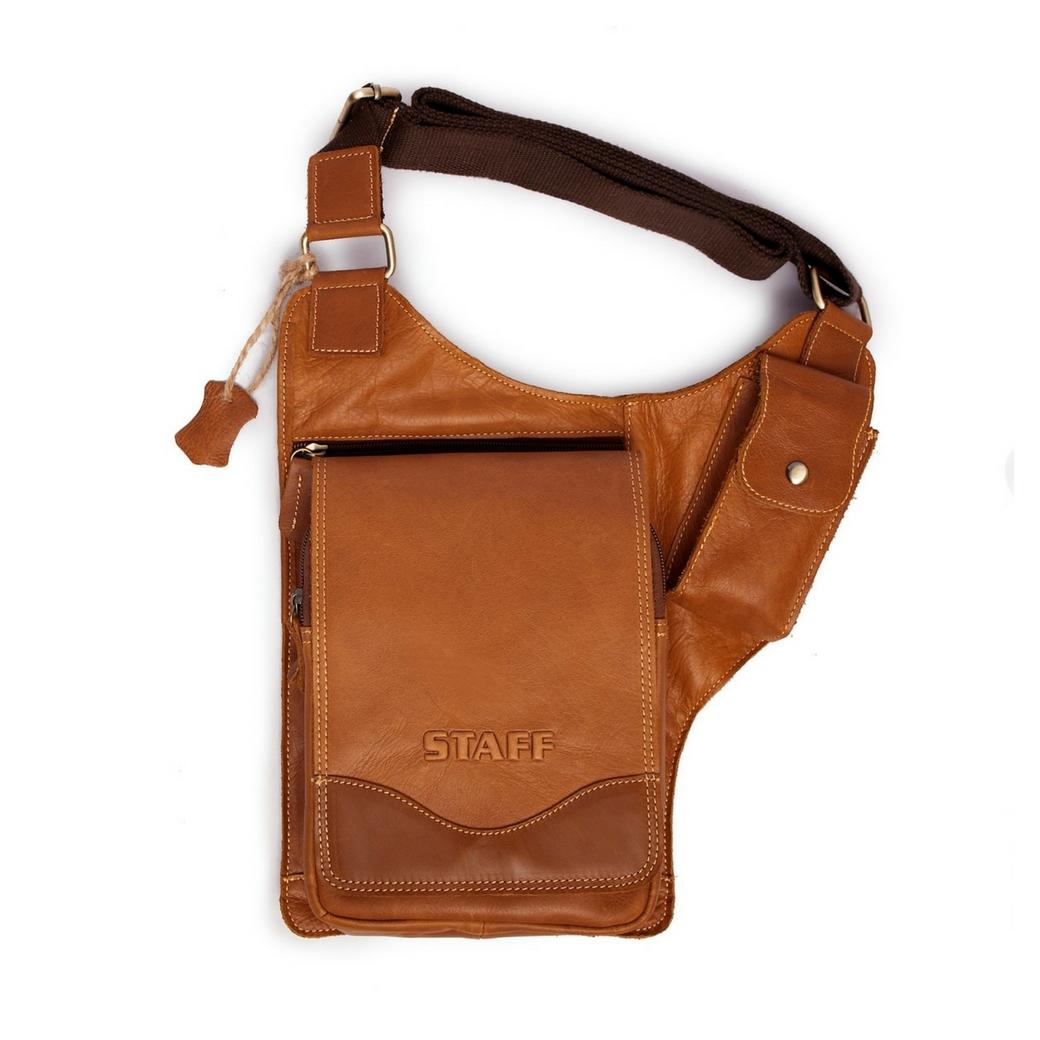 กระเป๋าสะพายข้าง หรือ กระเป๋าซองปืน ที่มีความคล่องตัวสูง เป็นกระเป๋าหนังแท้ สามารถเก็บ ไอแพด ปืนสั้น อื่นๆ เหมาะสำหรับ ผู้ชาย