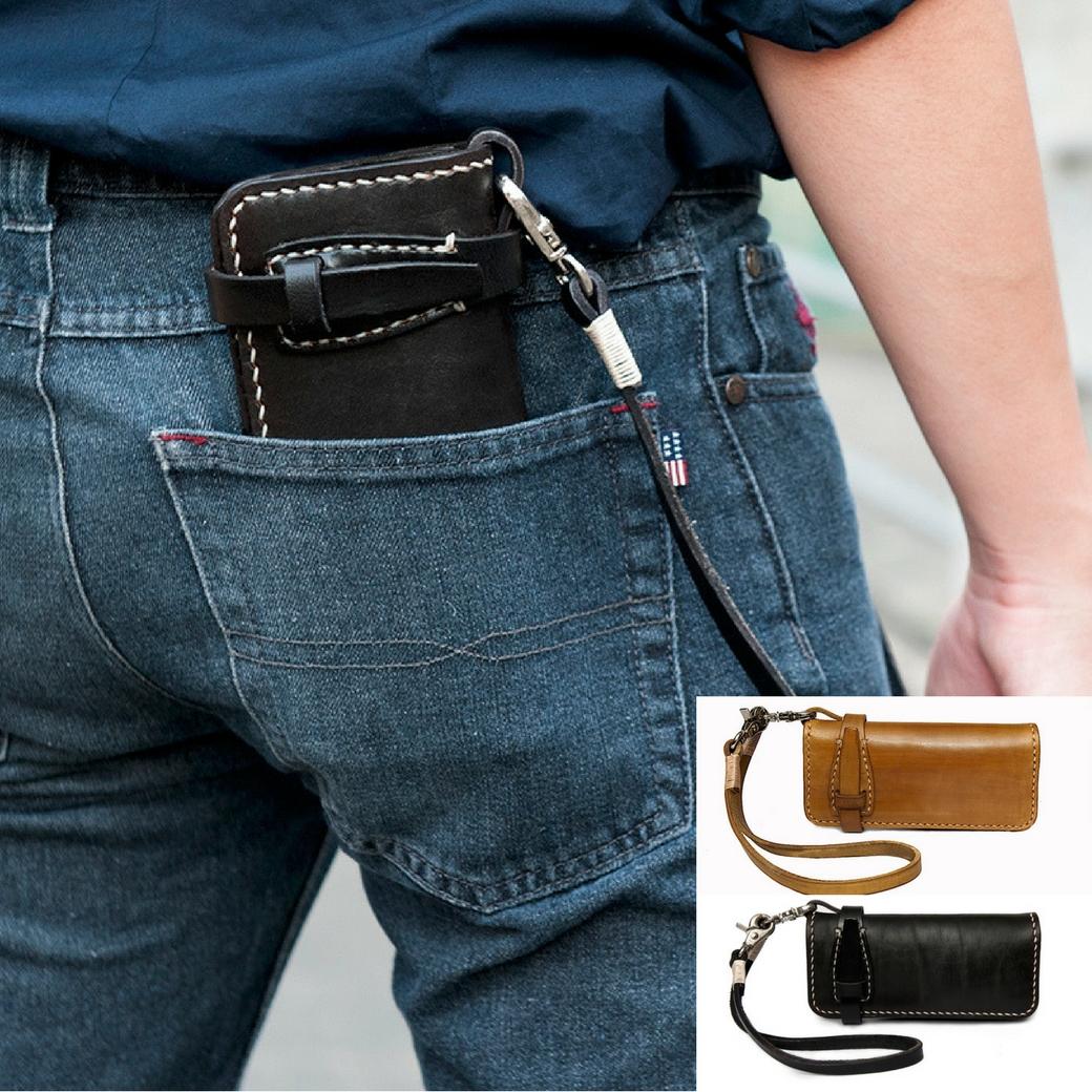 กระเป๋าสตางค์ผู้ชาย กระเป๋าหนังฟอกฝาด สไตล์วินเทจ, บิ๊กไบค์ พร้อมสายคล้อง สำหรับผู้ชาย