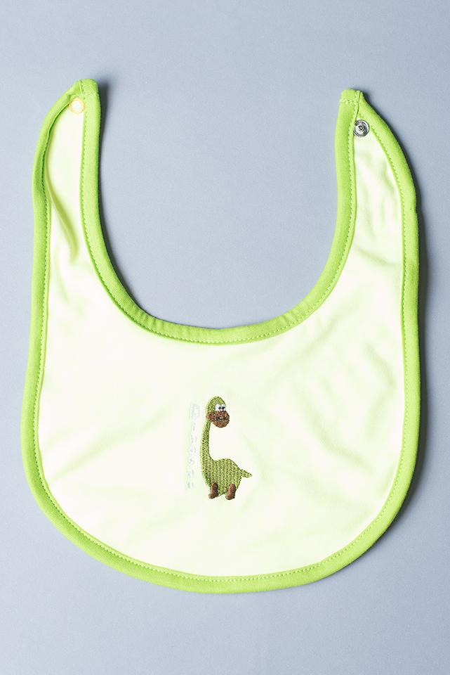 ผ้ากันเปื้อน สีเขียว ลายไดโนเสาร์