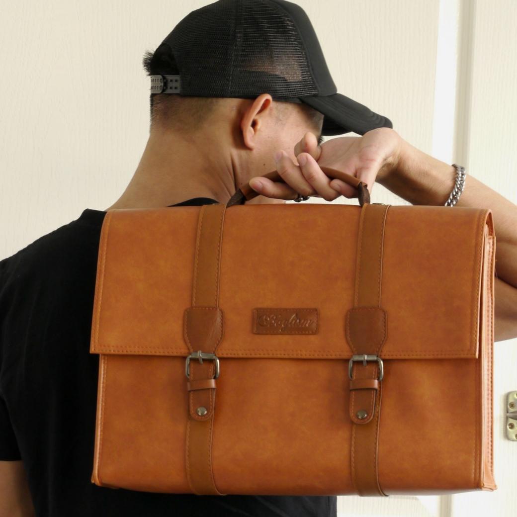 กระเป๋าสะพายข้าง กระเป๋านักเรียน กระเป๋าถือ กระเป๋าใส่เอกสาร แล็ปท๊อปขนาด 14 นิ้ว ทรงนักเรียน