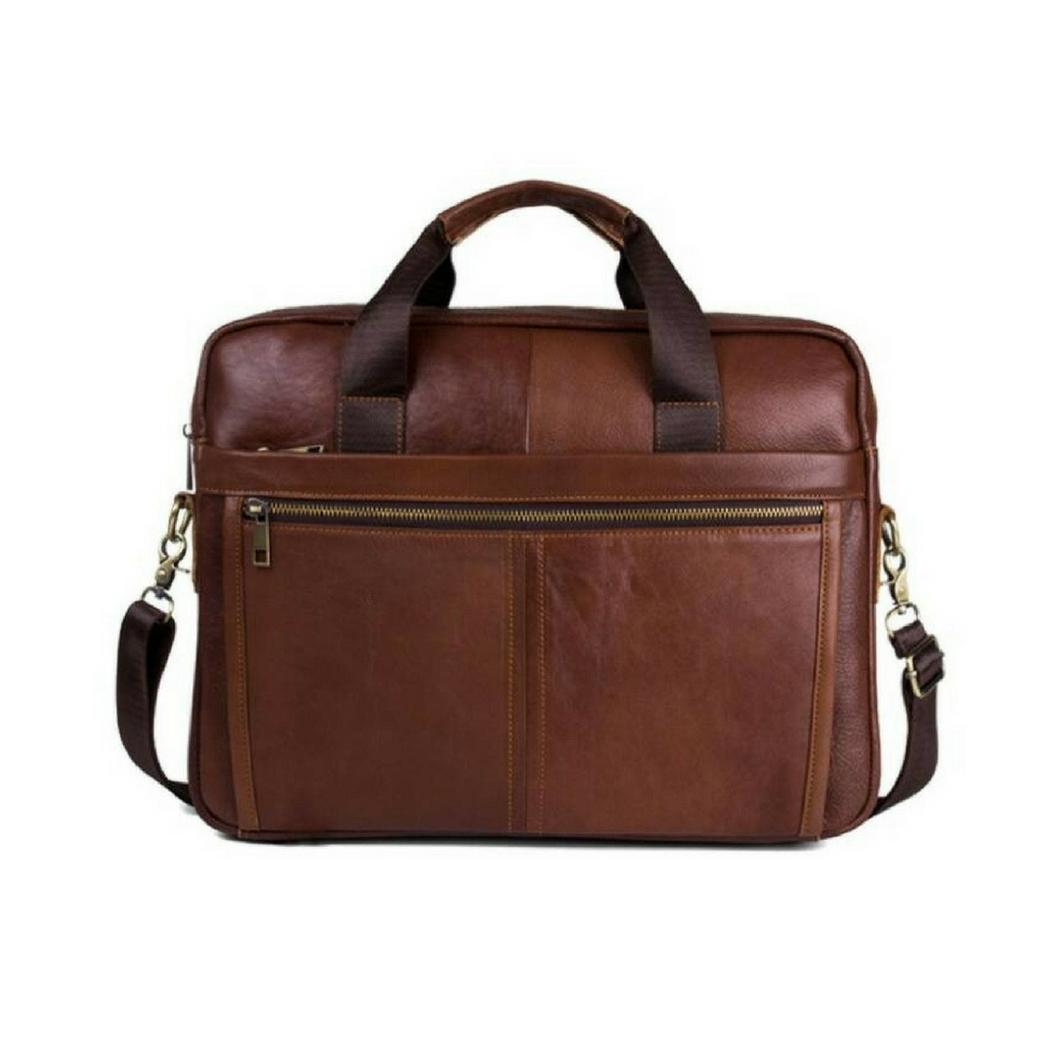 กระเป๋าสะพายข้าง กระเป๋าถือ กระเป๋าเอกสาร เป็นกระเป๋าหนังแท้ ใส่แล็ปท็อป ขนาด 15 นิ้ว {โทนสีน้ำตาล}
