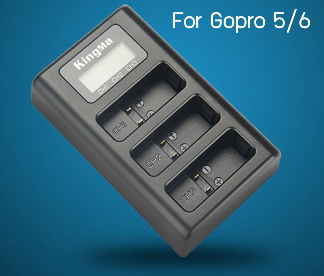 Kingma 3 slots Charger LCD For Goproรุ่น 5/6/Hero2018
