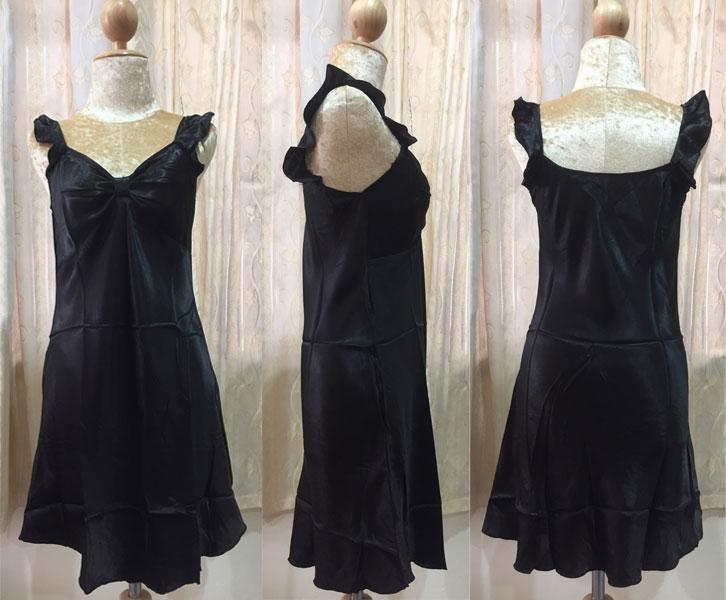 ภาพสินค้าจริง ชุดนอนผ้าซาติน แขนกุด โบว์เต็มหน้าอก สีดำ