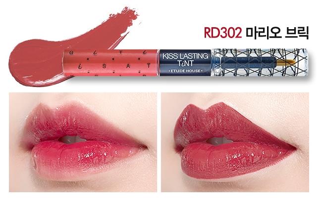 [PRE] Etude Kiss Lasting Tint 4g+4g #สี RD302 ลิปสติก สองหัว ที่รวมทั้ง ลิปกรอส และ tint สีสวย [Pre order]