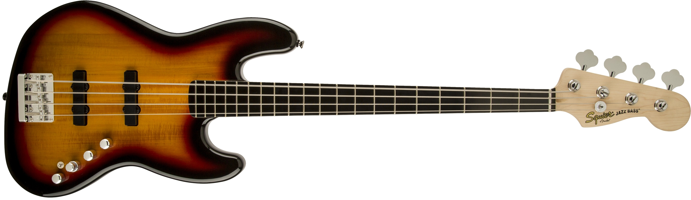Squier Deluxe Jazz Bass Active IV 4-String Electric Bass Guitar 3-Tone