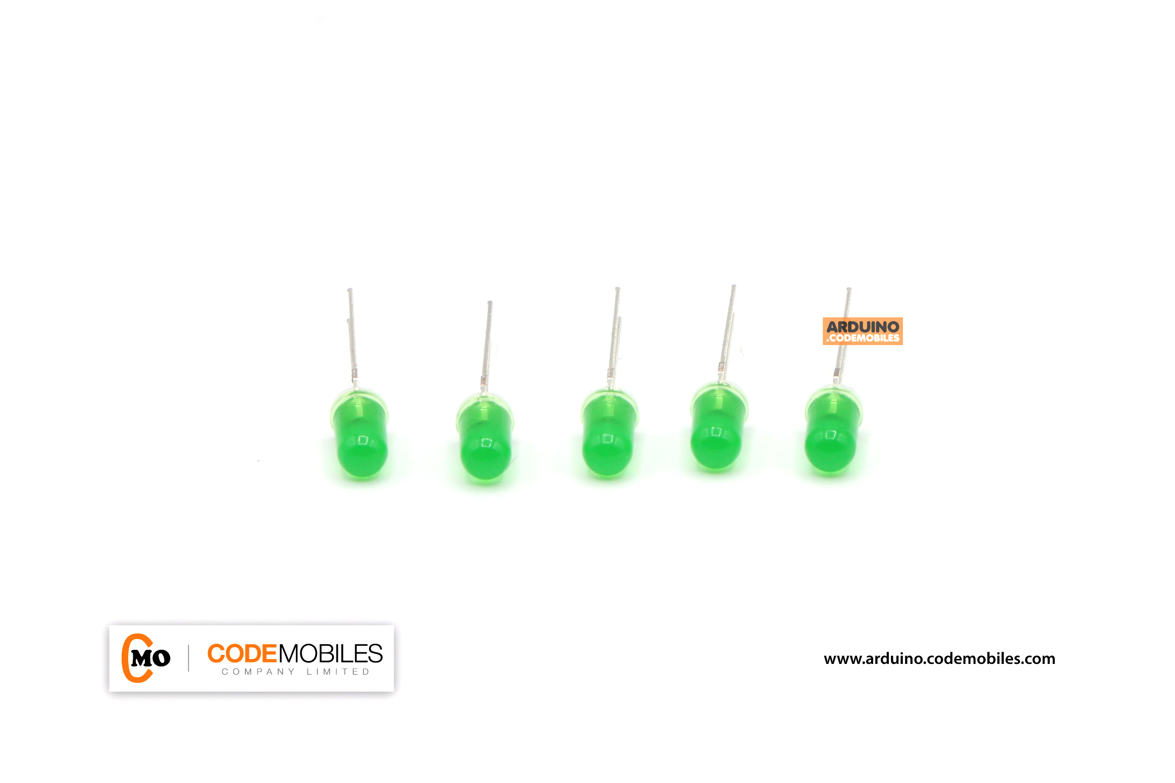 LED 5mm สีเขียว จำนวน 5 ชิ้น