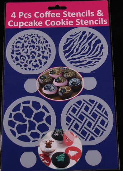 แผ่นแต่งหน้าคัพเค้ก คุ๊กกี้ แต่งหน้ากาแฟ 4 แบบ ลายน้ำ ลายหิน CAKE STENCILS BAKE237