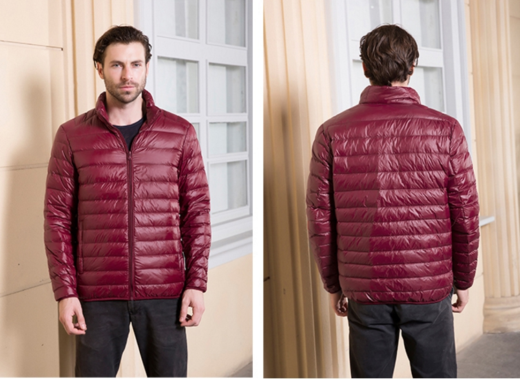 Men's Ultra light slim Down jacket ผสมขนเป็ด Duck down 90% !! (สี Wine)