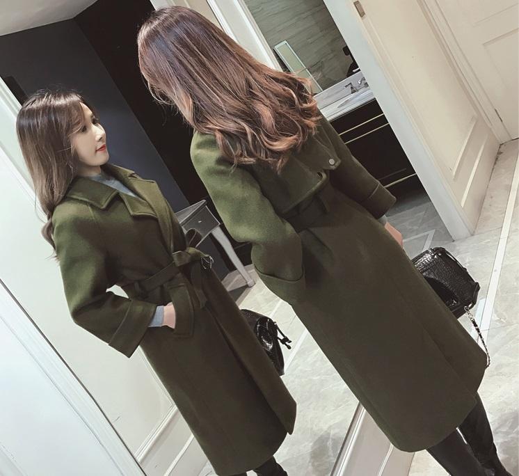 เสื้อโค้ท PASSM คุณภาพดี ผ้า Wool กันหนาว (สีเขียวกากี)