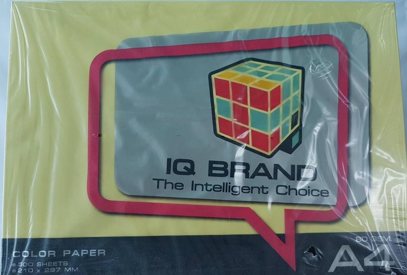 กระดาษสี IQ A4 80g สีเหลือง 500แผ่น