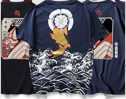 3D 4ลายซื้อ1คู่1000!! เสื้อคู่ลายญี่ปุ่น!! เสื้อยืด สกรีนลายญี่ปุ่น ปลา ซูโม่ No.36 38 40 42 44 สีดำ น้ำเงิน ขาว
