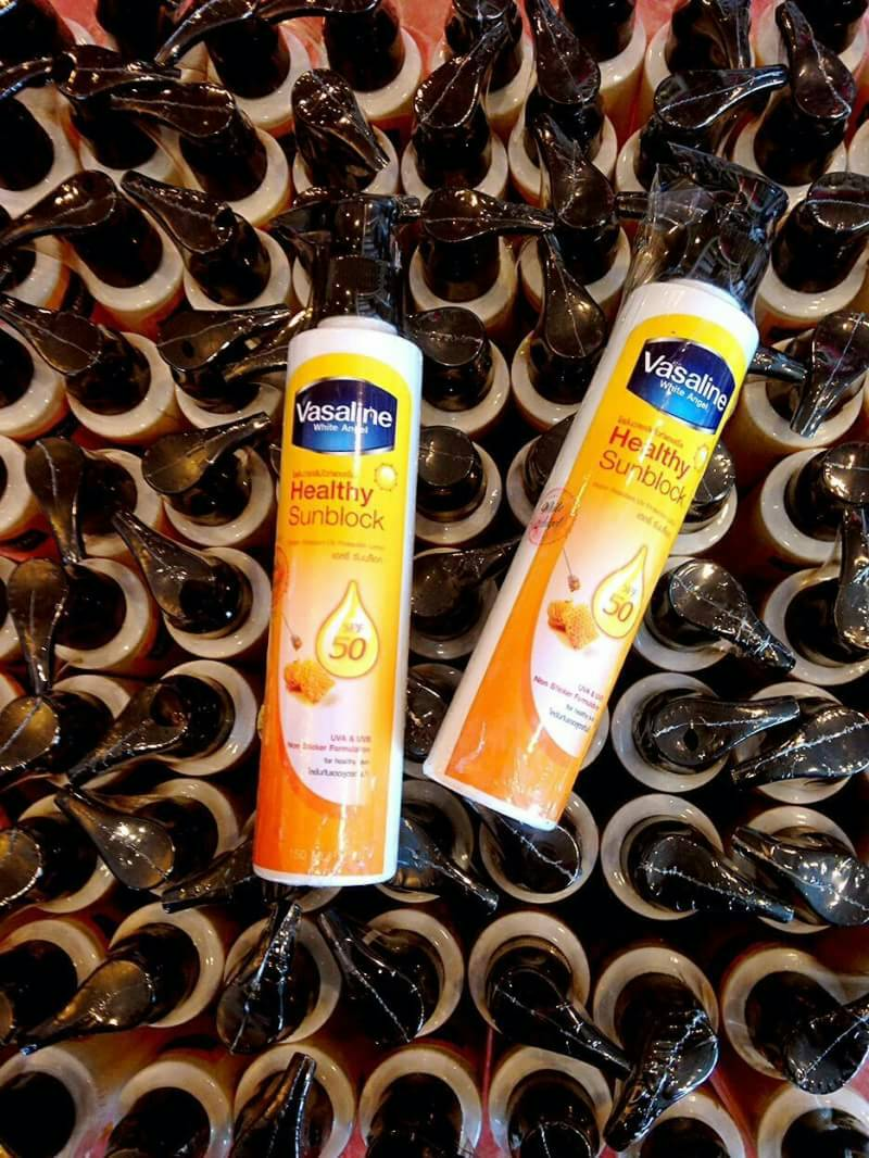 Vasaline Healthy Sunblock Spf 50 โลชั่นกันแดดวาซาลีนไวท์แองเจิ้ล ราคาปลีก 100 บาท / ราคาส่ง 80 บาท