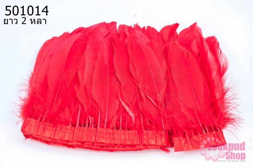 ขนนกมีริบบิ้น สีแดง ยาว 2 หลา (1ห่อ/220ก้าน)