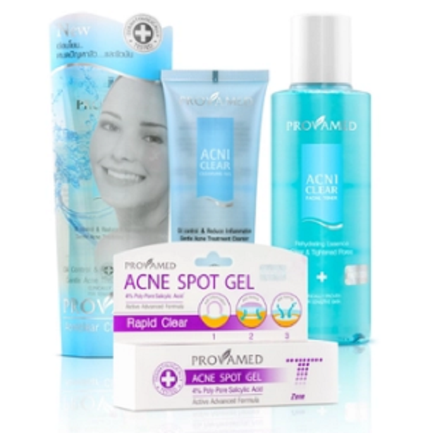 Provamed Rapid Clear Acne Spot Gel 10 ml. + Provamed Acniclear Cleansing Gel 120 ml. 2 ชิ้น + Provamed Acniclear Facial Toner 200 ml.