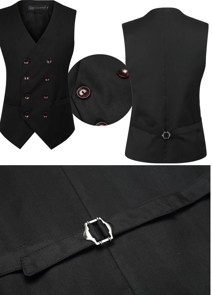 สีดำ เทา!! เสื้อกั๊๊กตัวเล็กสไตล์อังกฤษ แฟชั่นกระดุมคู่ Size No.34-36-38-40-42 สีเทา ดำ