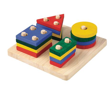ของเล่นไม้เสริมพัฒนาการเด็ก แป้นเรขาสวมหลัก (ส่งฟรี)