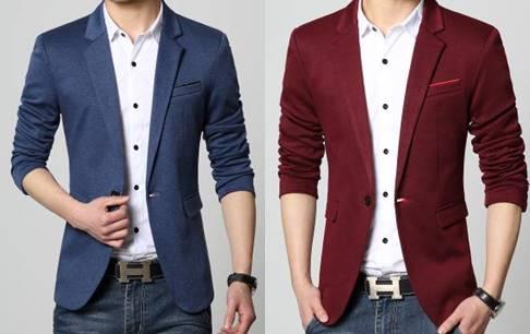 เสื้อสูทแฟชั่นชาย อังกฤษ สลิมฟิต ปกเปิดมาตรฐาน แต่งกระเป๋า สีแดง ฟ้าSize No.34-36 38 40 42 44