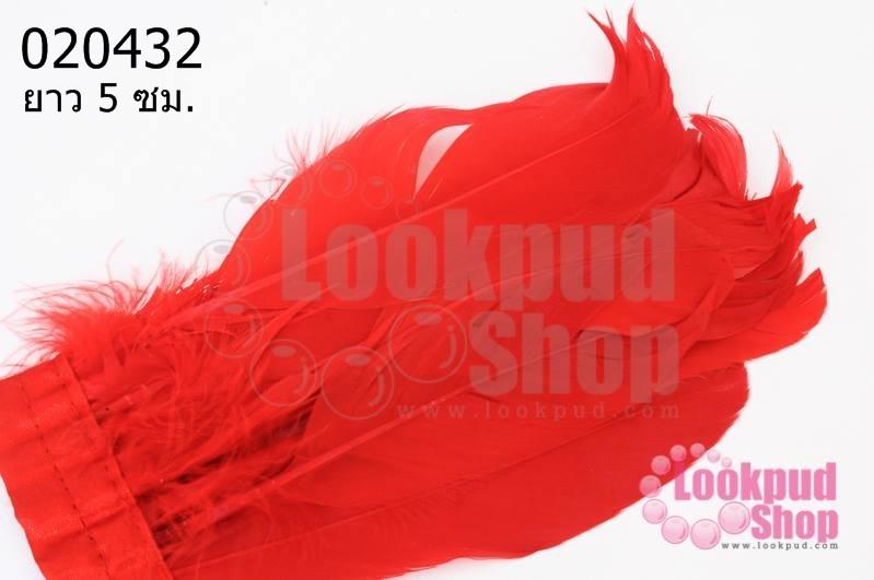 ขนนกมีริบบิ้น สีแดง ยาว 5 ซม.(มี5ชิ้น)