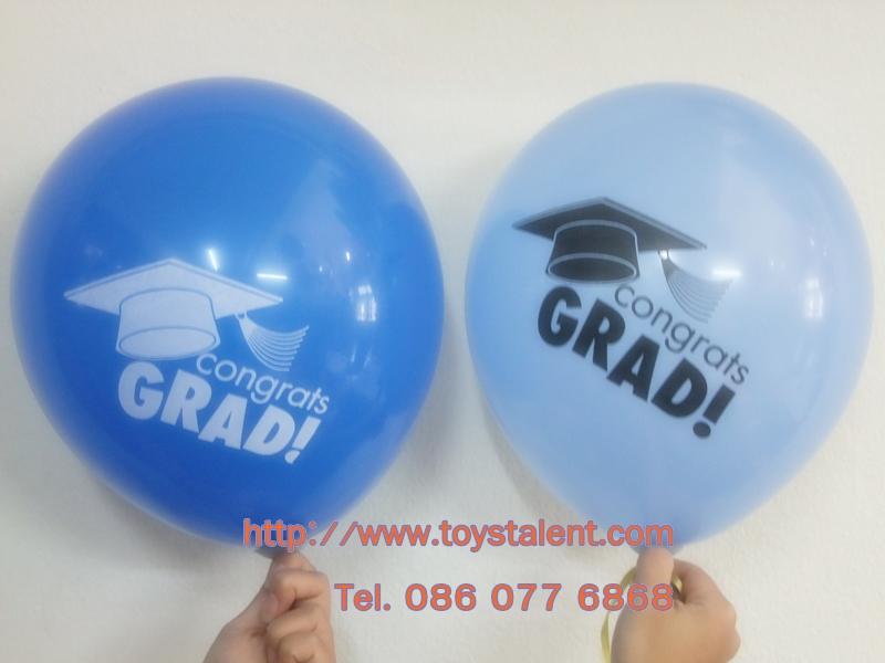 """ลูกโป่งกลมพิมพ์ลาย Congrats รับปริญญา คละสี คละแบบ ไซส์ 12 นิ้ว แพ็คละ 10 ใบ (Round Balloons 12"""" - Congrats Printing latex balloons)"""