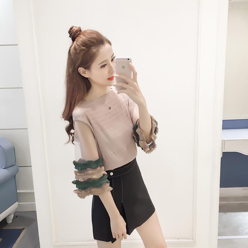 เสื้อแฟชั่นเกาหลี แขน 2 ส่วน แต่งชายแขนเสื้อเป็นชั้นระบาย สีครีม-เขียวเข้ม