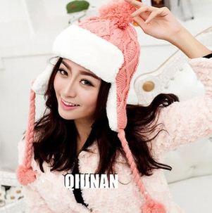 หมวกแฟชั่นเกาหลีพร้อมส่ง ปิดหูครอบหัว เอสกิโม่ปิดหูมีจุกด้านบน กันหนาวหิมะ สีชมพู