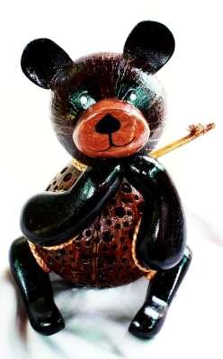 โคมไฟกะลามะพร้าวรูปหมี Coconut Shell Lamp Teddy Bear