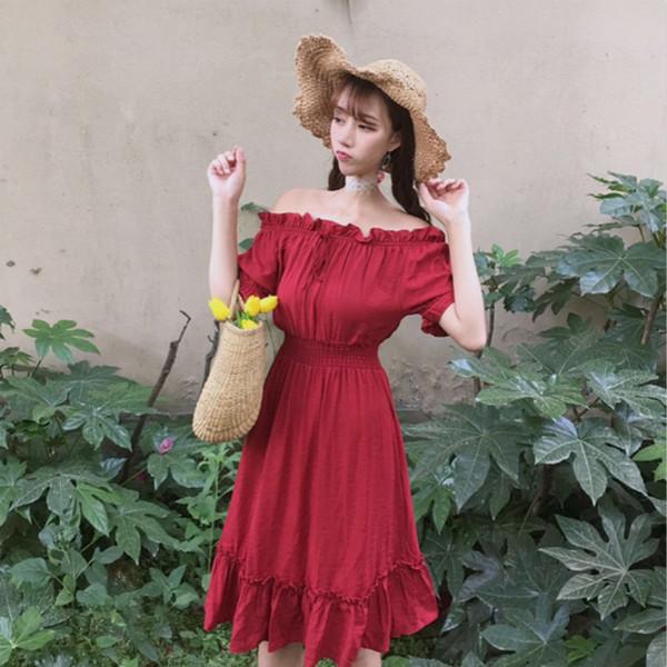 เสื้อผ้าแฟชั่นสไตส์เกาหลี เดรสเกาะอก สีแดง แต่งจั้มเอว +พร้อมส่ง+