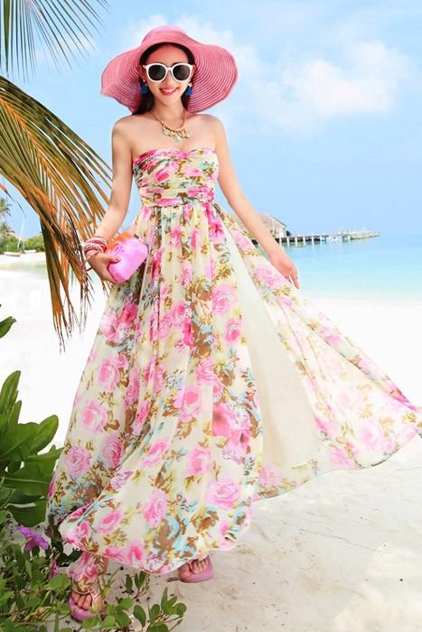 พร้อมส่ง เกาะอก ลายดอกไม้สีชมพู สวยมาก สม๊อคหลัง กระโปรงผ่าด้านหน้า พริ้วๆ