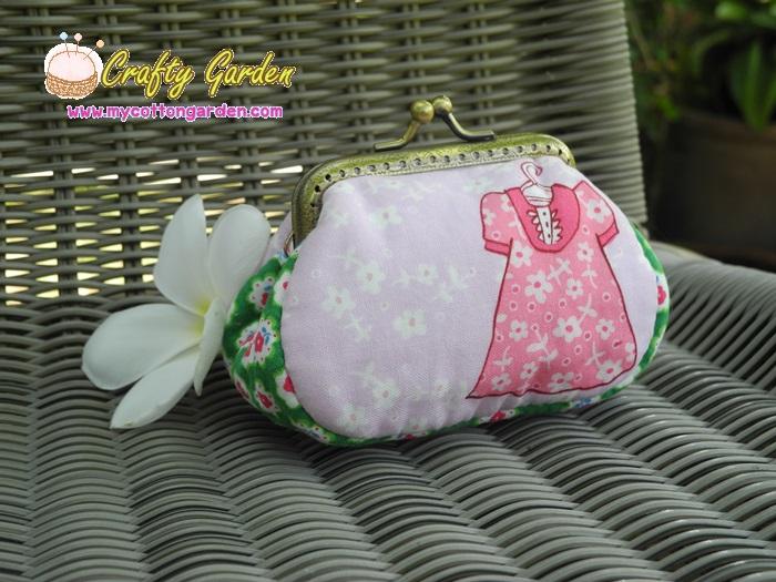 กระเป๋าปิ้กแป้กขนาด 7 cm ผ้าอเมริการ ควิลล์มือ สำหรับใส่เหรียญ ของจุกจิก (สินค้าฝากขาย ไม่บวกเพิ่ม )