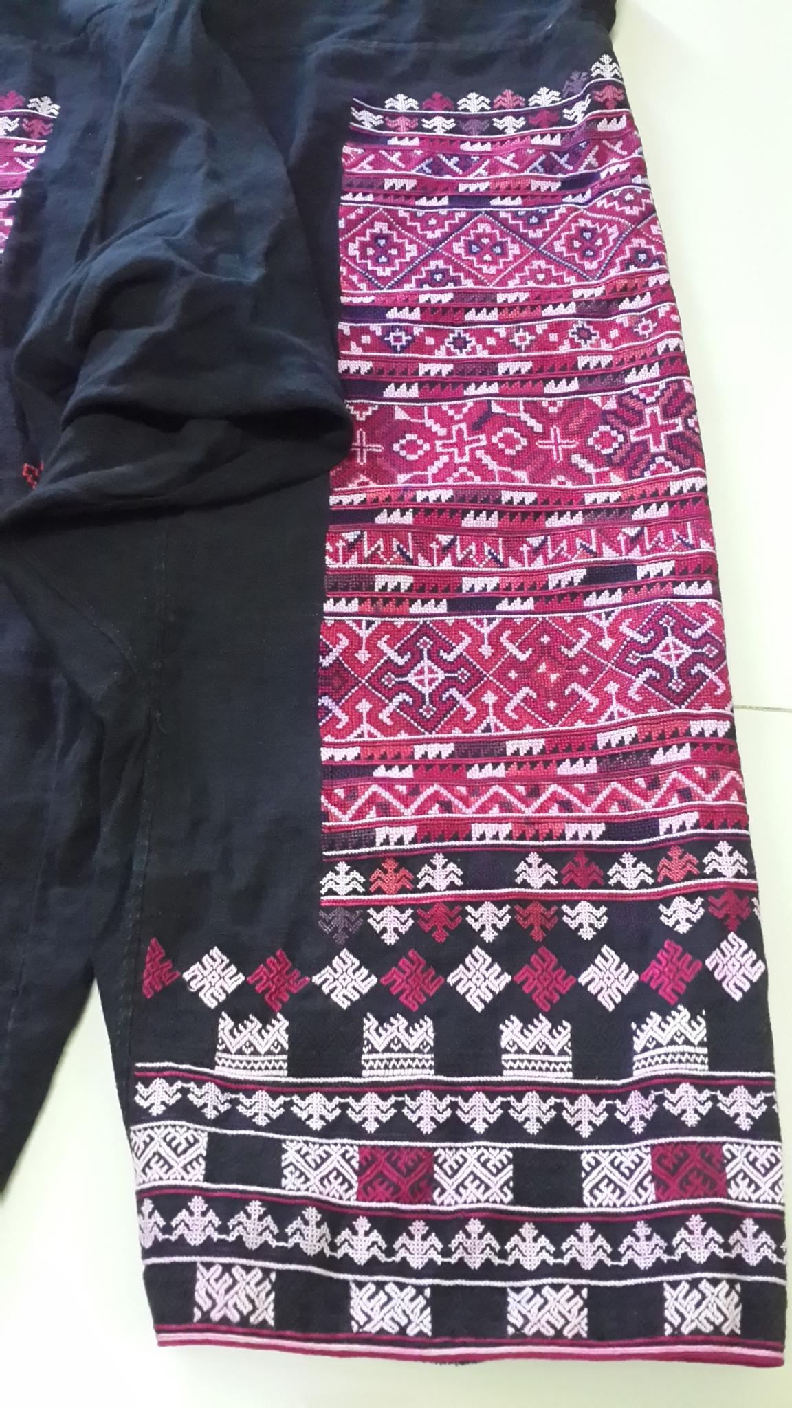 กางเกงผ้าปักมือ โทนสีชมพูเก่า ผืนยาว